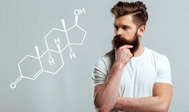 bearded man looking at testosterone chemical structure