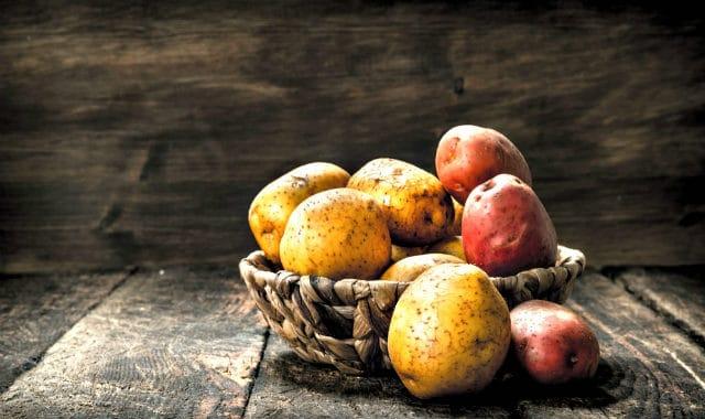 potatoes on a basket