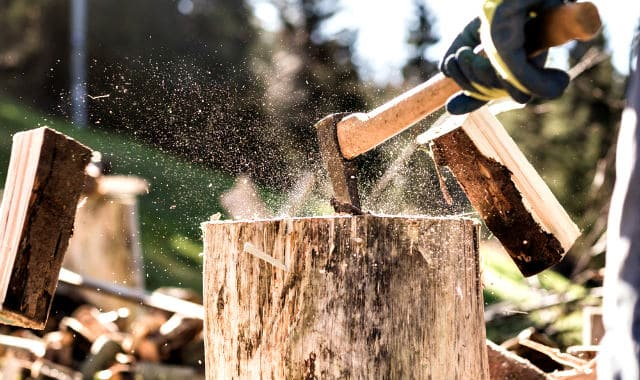 wood chopping man