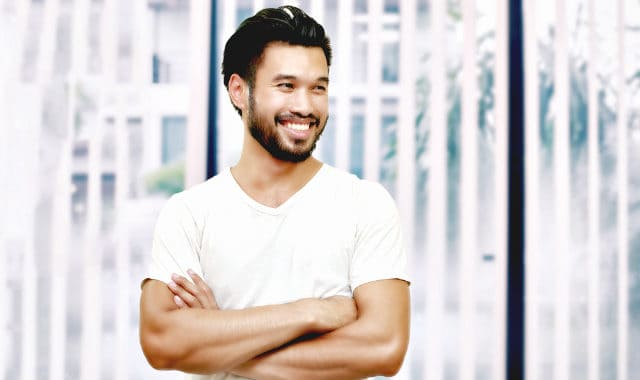 asian man with a full beard