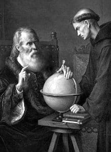 galileo galilei and his big beard on trial with a monk and a globe.