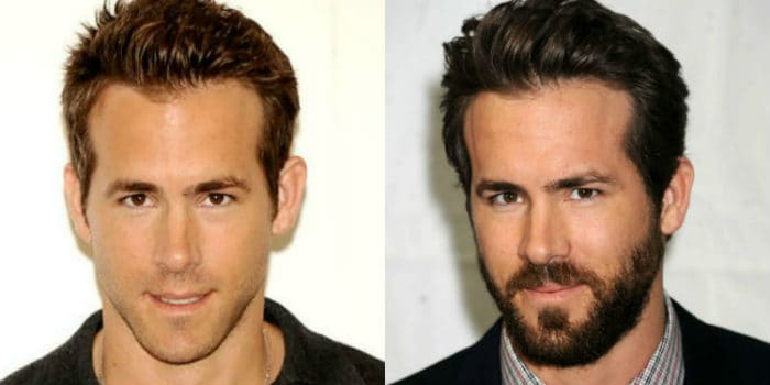 Ryan Reynolds with and without facial hair