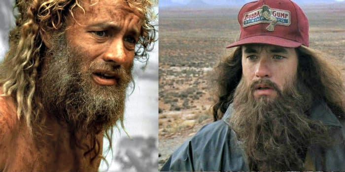 Tom Hanks with two different styles of facial hair in his movies