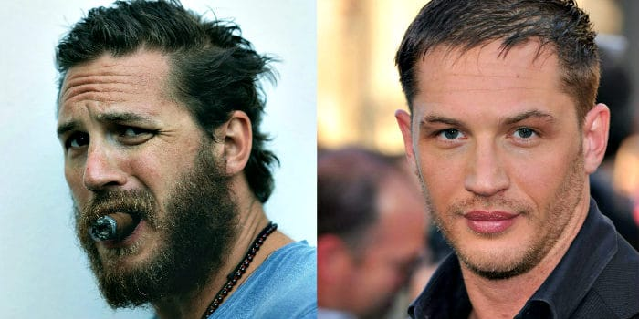 two different beard styles of Tom Hardy