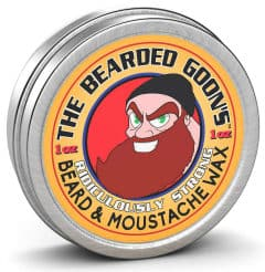 1 fl oz. tin of bearded goons facial hair and moustache product in white background