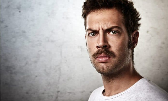 man with strong mustache