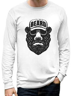 trucker hat bear with a beard long sleeve shirt