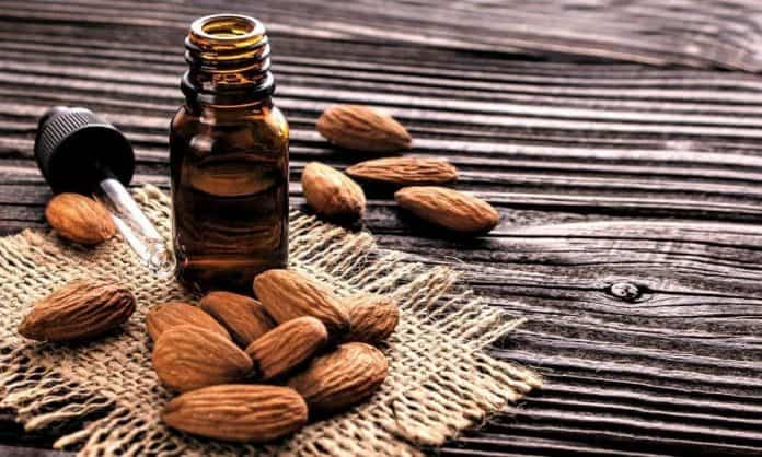 almond oil infused beard oil bottle