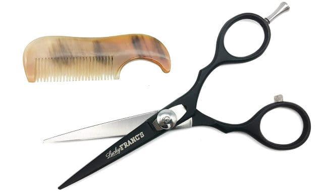 lucky franc beard scissors and horn comb