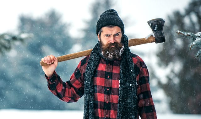 lumberjack with a beard and an axe