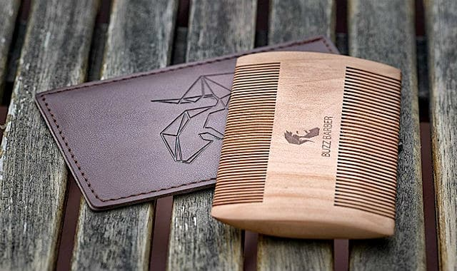 peachwood beard comb and case