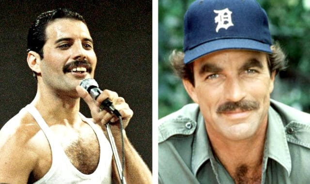 tom selleck and freddie mercury with chevron mustache styles