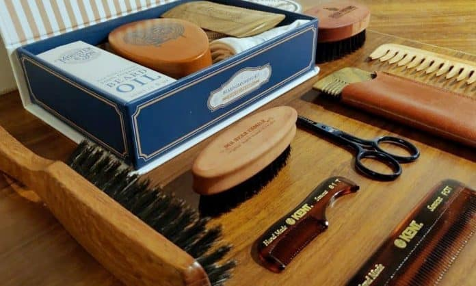 beard kit laid on table