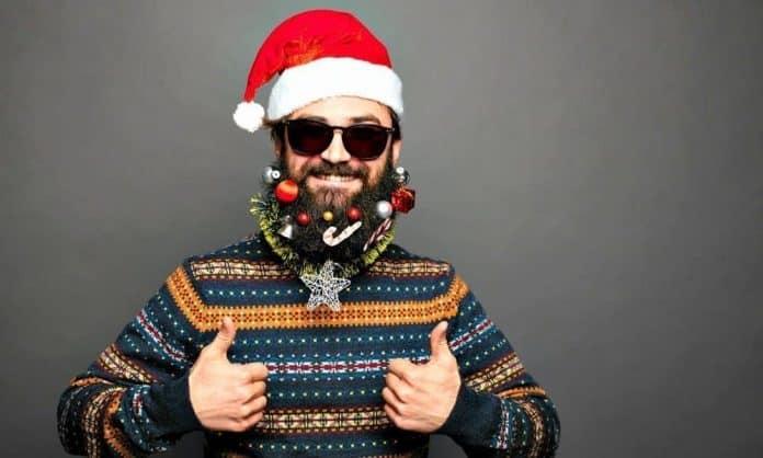 man with beard baubles on his facial hair