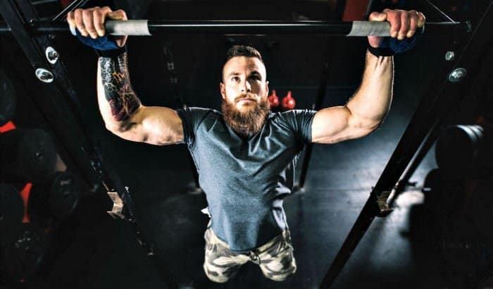 beard man exercising