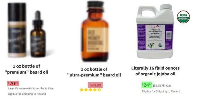 homemade beard oil average price comparison