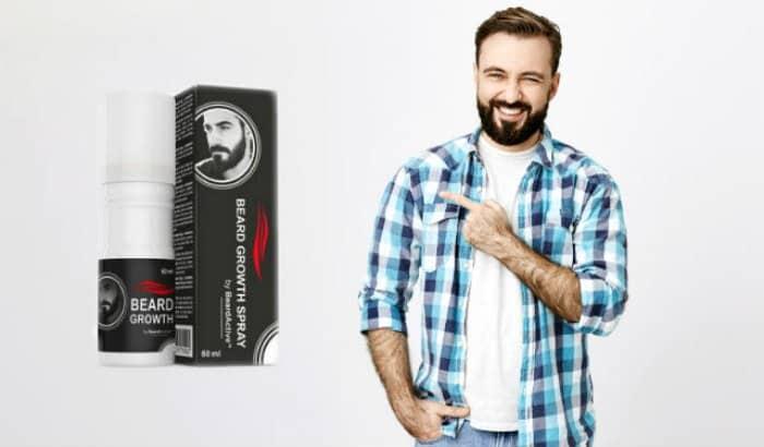 man laughing at fake beard growth spray