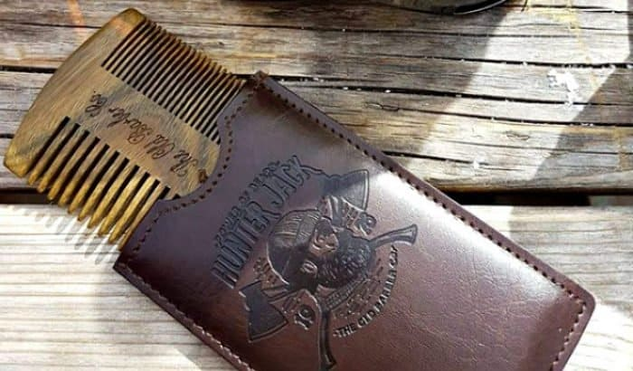 beard comb in a pouch