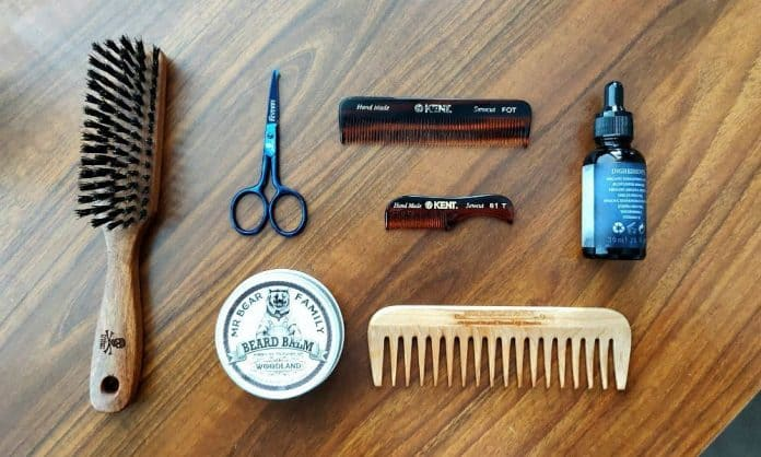 beard oil combs brush balm and scissors