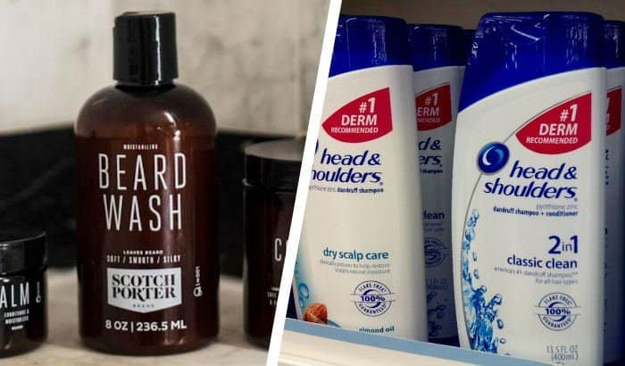 beard shampoo bottle with head and shoulders