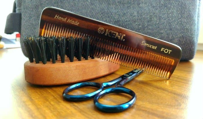 beard brush comb and scissors