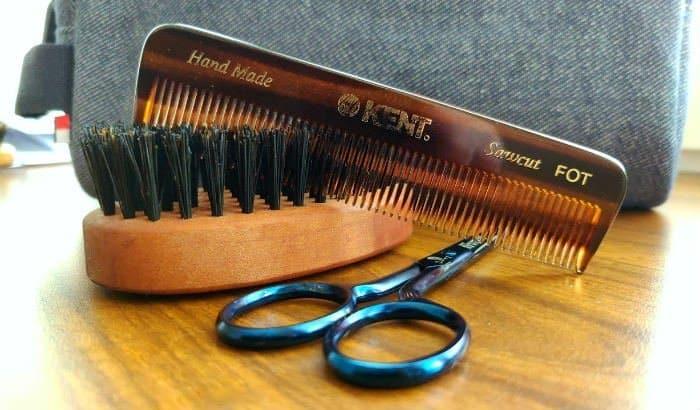 beard brush comb and scissors