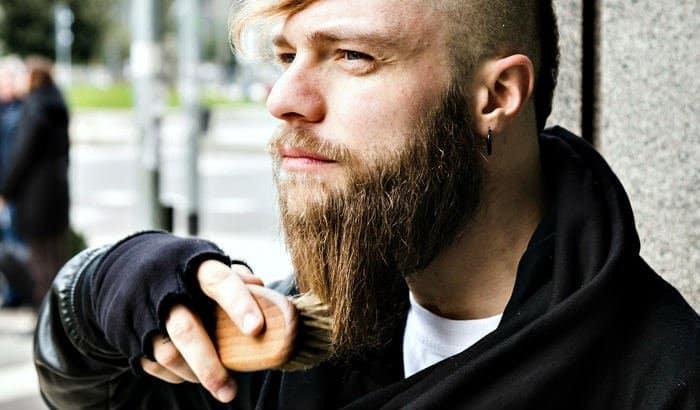 brushing a long beard