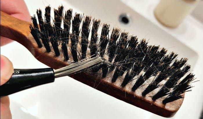 cleaning a beard brush step 1