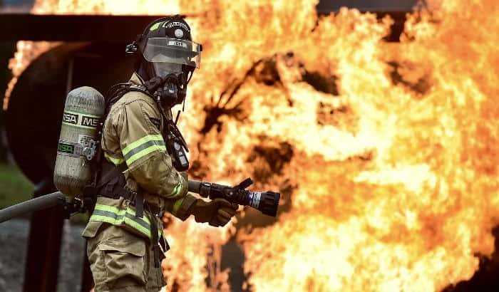 firefighter with a mask