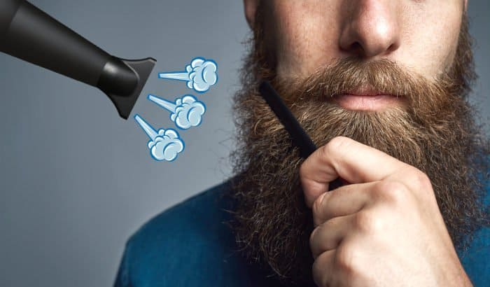 how to blow dry a beard