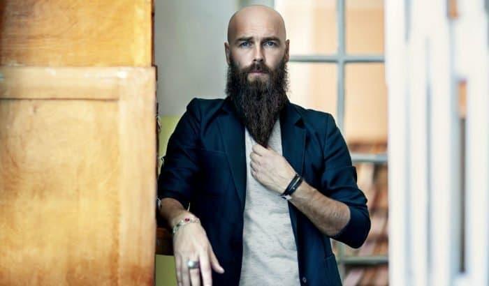 bald man with a long beard at terminal length