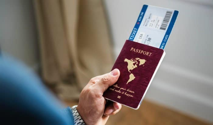 passport in a hand