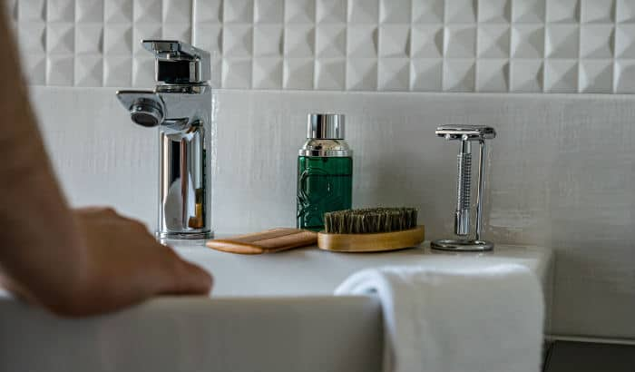 beard products on a kitchen sink