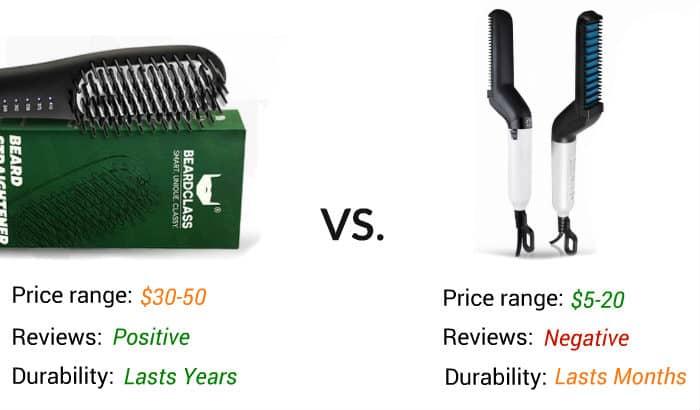 cheap vs medium price beard straightener