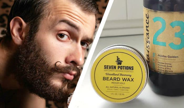 bearded man and jojoba oil beard products