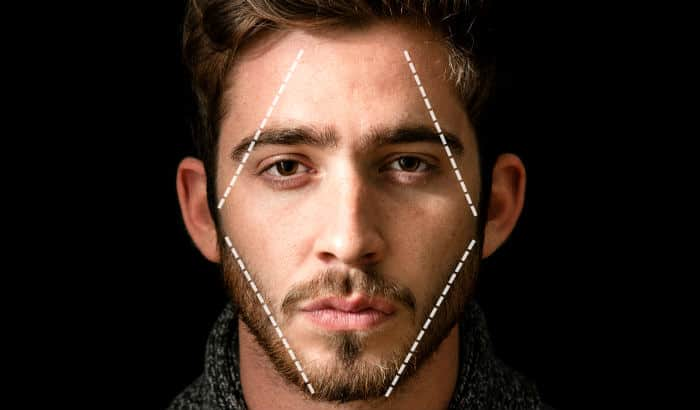 man with diamond face shape