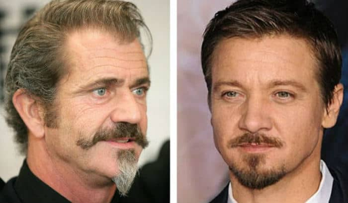 mel gibson and jeremy renner with van dyke beards
