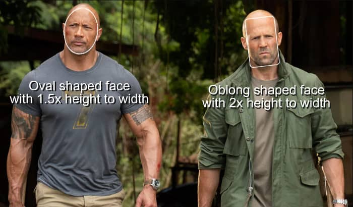oblong face shape example the rock and jason statham