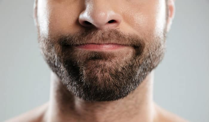 short boxed beard closeup