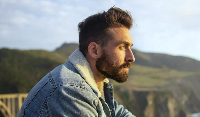 side profile view of a boxed beard style