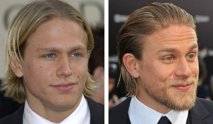 charlie hunnam beard vs no beard