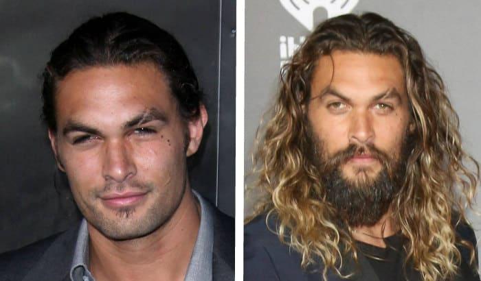 jason momoa beard vs no beard